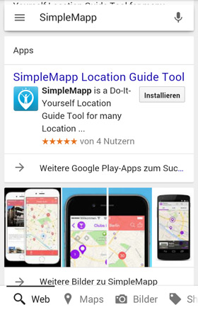 Install app from google search